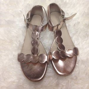 Boden sandals shoes gold leather 8